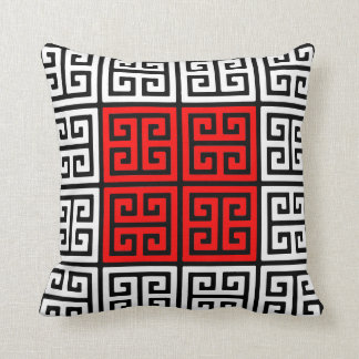 Red White and Black Greek Key Pattern Throw Pillow