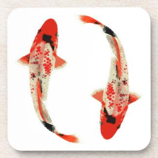 Red, White, and Black Koi Fish Beverage Coaster