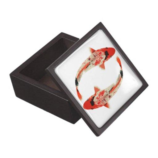 Red, White, and Black Koi Fish Gift Box