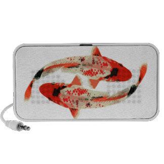 Red, White, and Black Koi Fish iPod Speakers