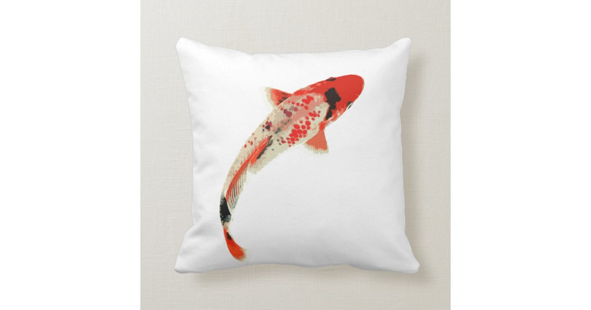 Red white and black koi fish throw pillow zazzle for Koi fish pillow