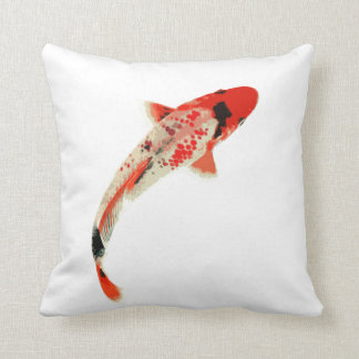 Red, White, and Black Koi Fish Throw Pillow