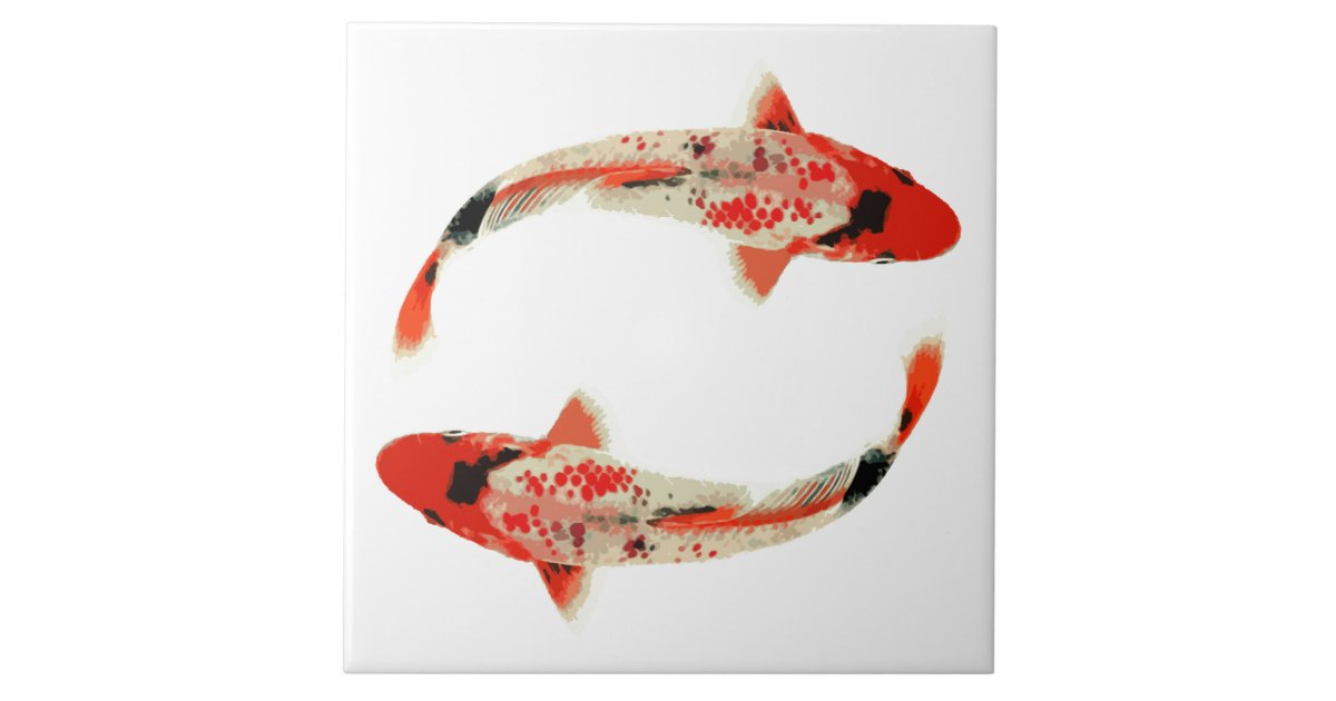 Red white and black koi fish tile zazzle for Black and white koi fish