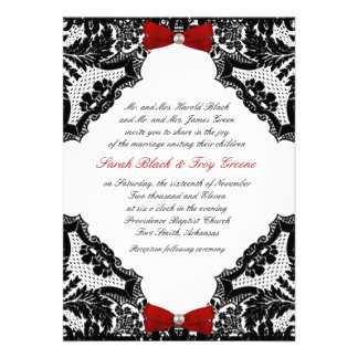 Red white and Black lace Wedding Invitation