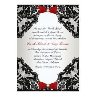 "Red, white and Black lace Wedding Invitation 5"" X 7"" Invitation Card"