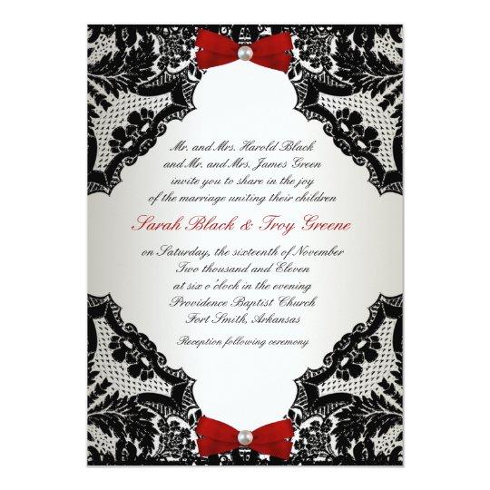 Red white and Black lace Wedding Invitation Zazzlecom