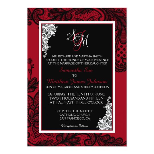 Red White and Black Lace Wedding Invitation Card | Zazzle.com