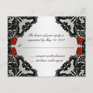 Red, white and Black lace Wedding RSVP