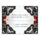 Red, white and Black lace Wedding RSVP 4.25x5.5 Paper Invitation Card