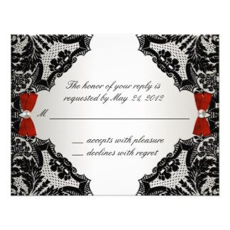 Red white and Black lace Wedding RSVP Invitation