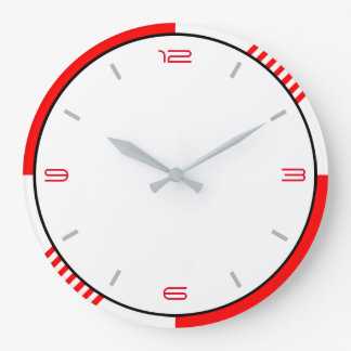 Red White and Black Large Clock