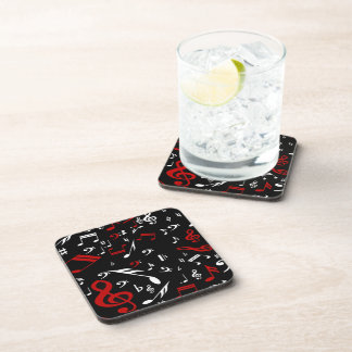 Red White and Black Musical Notes Beverage Coaster