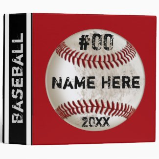 Red, White and Black Personalized Baseball Binder