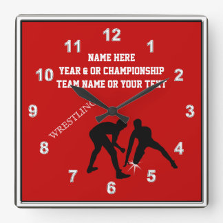 Red, White and Black Personalized Wrestling Clock