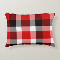 Red White and Black Plaid Accent Pillow