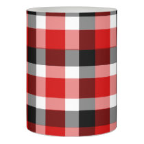 Red White and Black Plaid Flameless Candle