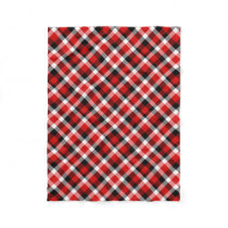 Red White and Black Plaid Fleece Blanket