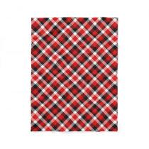 Red White and Black Plaid Fleece Blanket
