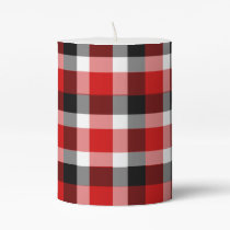 Red White and Black Plaid Pillar Candle