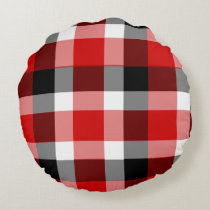 Red White and Black Plaid Round Pillow