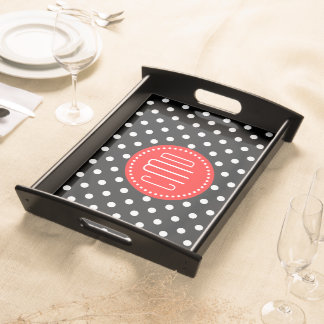 Red White And Black Polka Dots Serving Tray