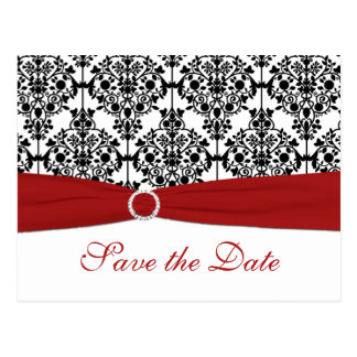 Red, White, and Black Save the Date Postcard