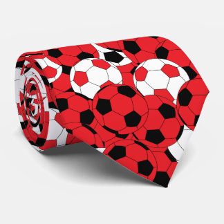 Red, White and Black Soccer Ball Collage Neck Tie