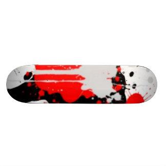 Red, White and black splatter skate board