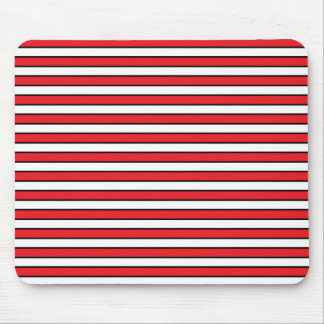 Red, White and Black Stripes Mouse Pad