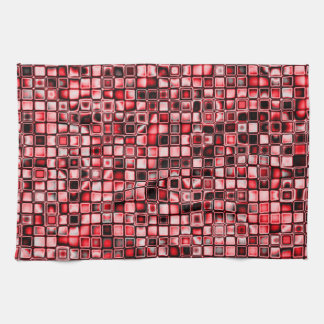 Red, White And Black Textured Grid Pattern Hand Towel