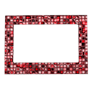 Red, White And Black Textured Grid Pattern Photo Frame Magnets
