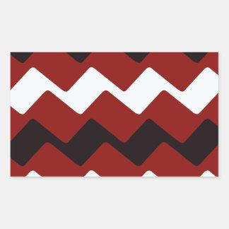 Red,White and Black Wavy Chevrons Rectangular Sticker