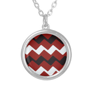 Red,White and Black Wavy Chevrons Silver Plated Necklace