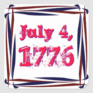 Red White and Blue 1776 Square Frame Sticker