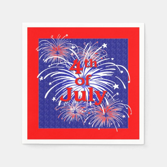 Red, White and Blue 4th of July Fireworks Napkin