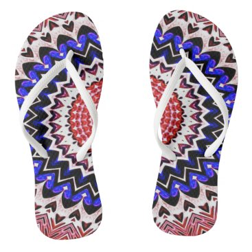 USA Themed Red White and Blue 4th of July Mandala Pattern Flip Flops