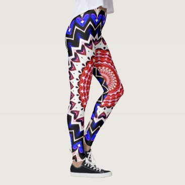 USA Themed Red White and Blue 4th of July Mandala Pattern Leggings