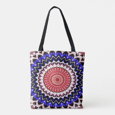 USA Themed Red White and Blue 4th of July Mandala Pattern Tote Bag
