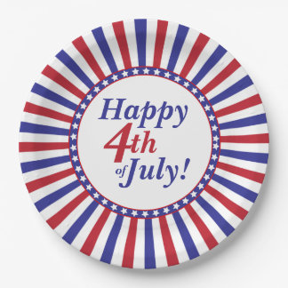 Red White and Blue 4th of July Stars and Stripes Paper Plate