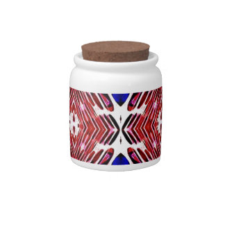 Red White and Blue 4th of July Tribal Pattern Candy Dish