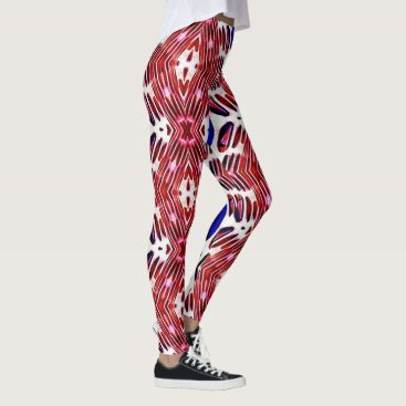 USA Themed Red White and Blue 4th of July Tribal Pattern Leggings