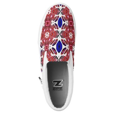 USA Themed Red White and Blue 4th of July Tribal Pattern Slip-On Sneakers