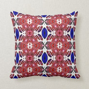 USA Themed Red White and Blue 4th of July Tribal Pattern Throw Pillow