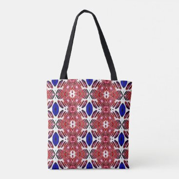 USA Themed Red White and Blue 4th of July Tribal Pattern Tote Bag