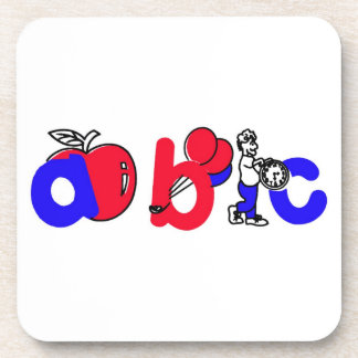 Red,White and Blue ABC Alphabet Logo Drink Coaster