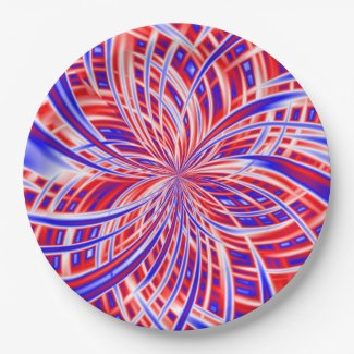 Red, White, and Blue Abstract 9 Inch Paper Plate