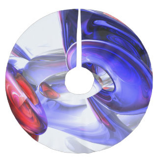 Red, White and Blue Abstract Brushed Polyester Tree Skirt