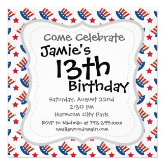 Red White and Blue All American Pattern Personalized Announcements