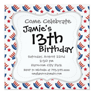 Red White and Blue All American Pattern Invitation