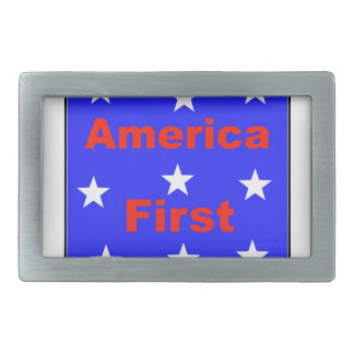 """Red, White, And Blue """"America First"""" Design Belt Buckle"""